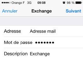 Exchange account configuration on iPhone 2