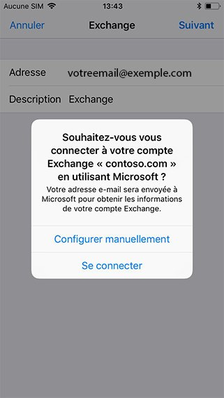Configuration compte exchange sur iPhone 4