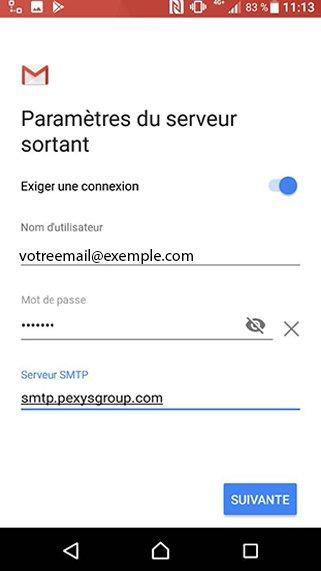 Configuration compte Exchange POP/SMTP sur Android 7