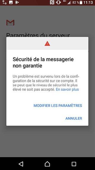 Configuration compte Exchange POP/SMTP sur Android 8