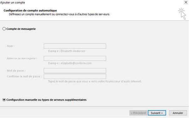 Configurer le compte Outlook