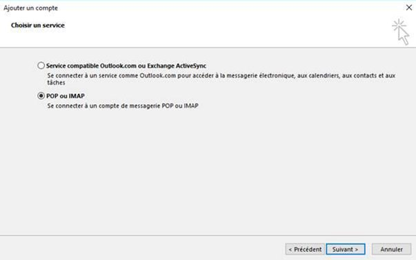 Configuration Outlook POP / SMTP 1
