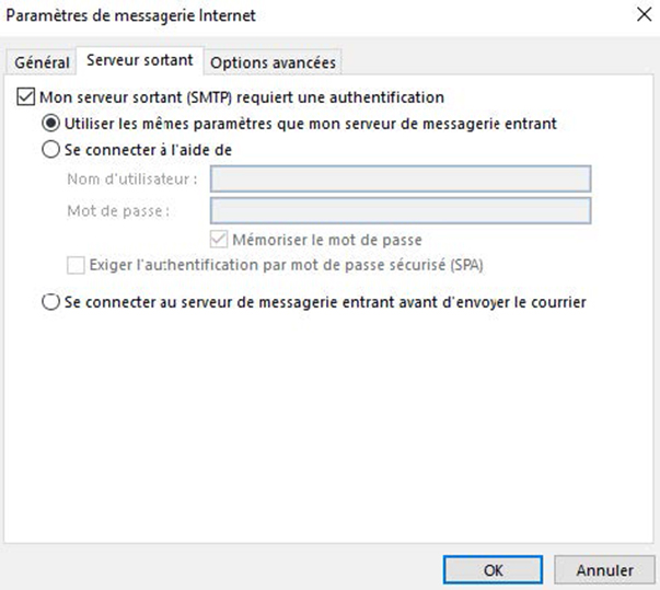 Configuration Outlook POP / SMTP 3
