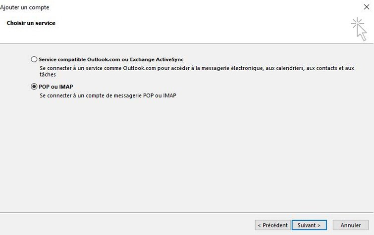 Configuration compte Exchange IMAP 1
