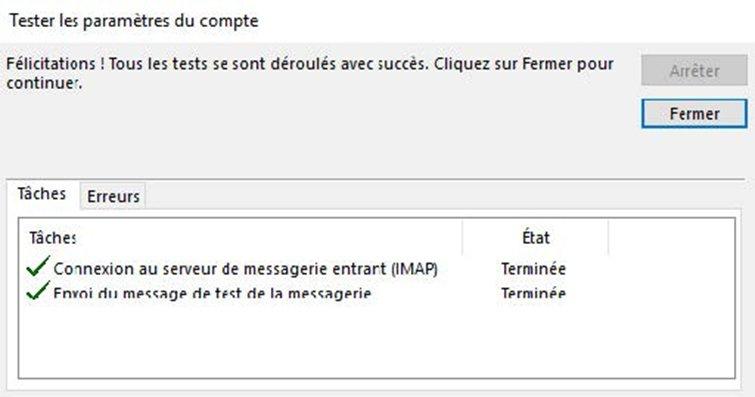Configuration compte Exchange IMAP 5