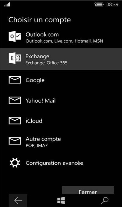 Configuration compte Exchange sur Windows Phone 4
