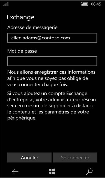 Configuration compte Exchange sur Windows Phone 6
