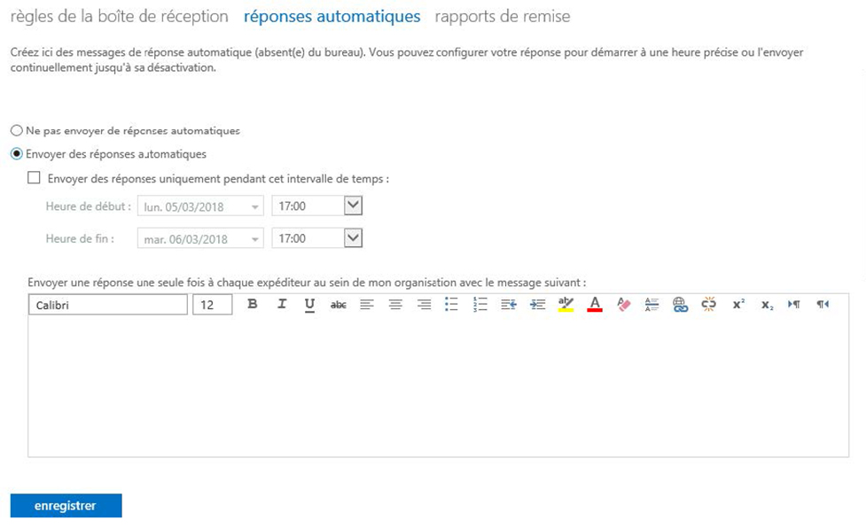 Définir un message d'absence à partir d'Outlook Web Access 2